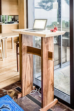 minimalist modern standing desk at home