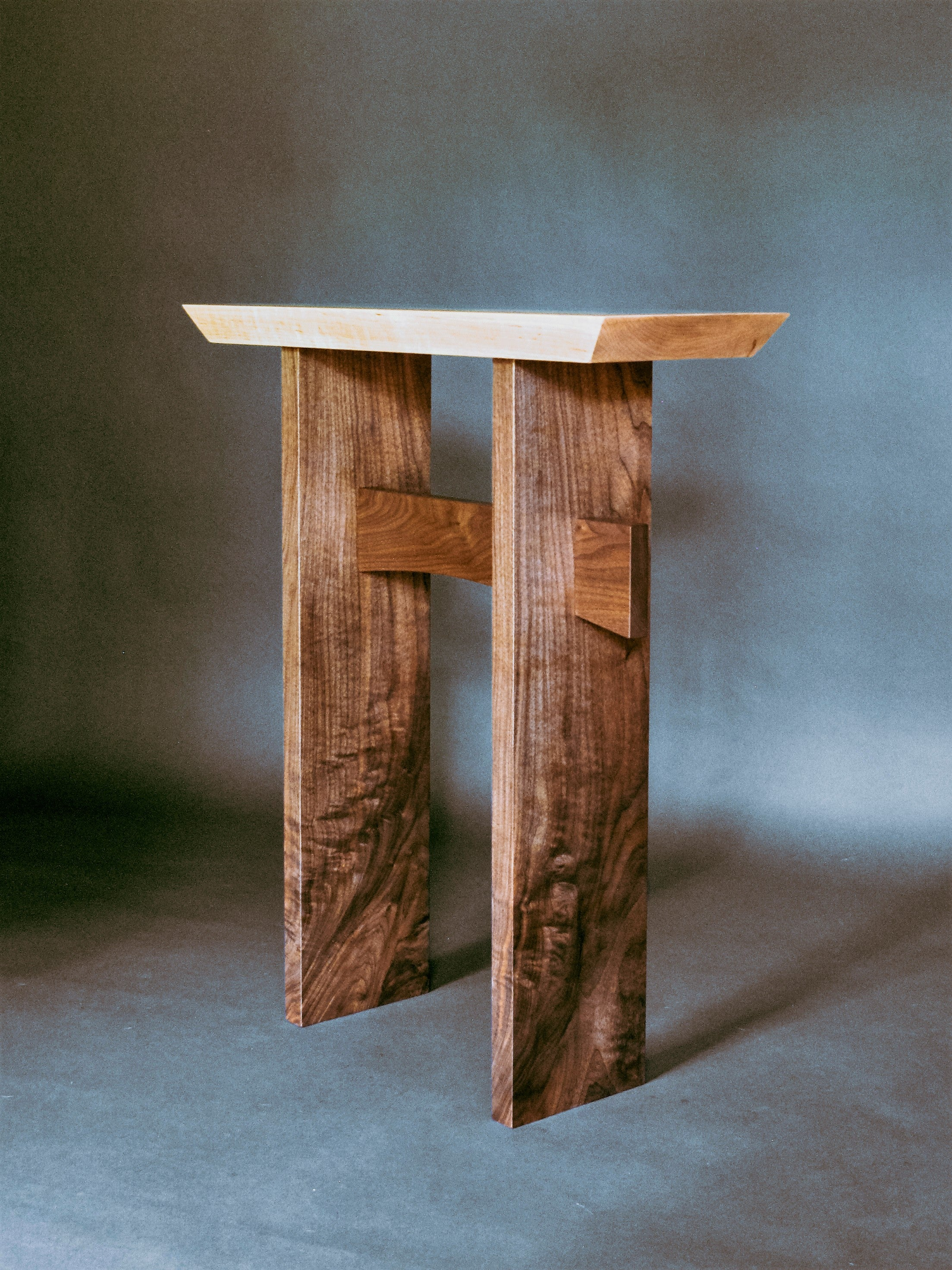 Statement Side Table in tiger maple and walnut - custom furniture orders welcome
