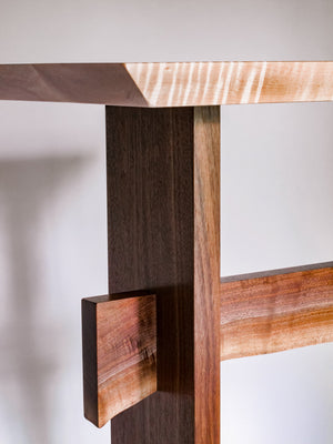 beautiful colors in the live edge walnut stretcher on this stand up desk