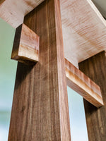 looking up at our standing desk, you can see the uniqueness of the live edge stretcher