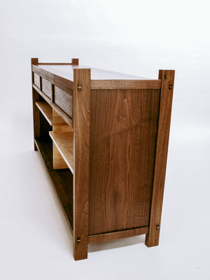 handmade narrow console cabinet for a media center or tv stand - sofa console or entryway furniture