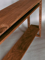 Beautiful wood grain patterns in a solid walnut console table by Mokuzai Furniture