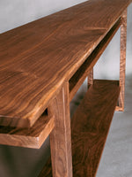 artistic wood console table in solid walnut