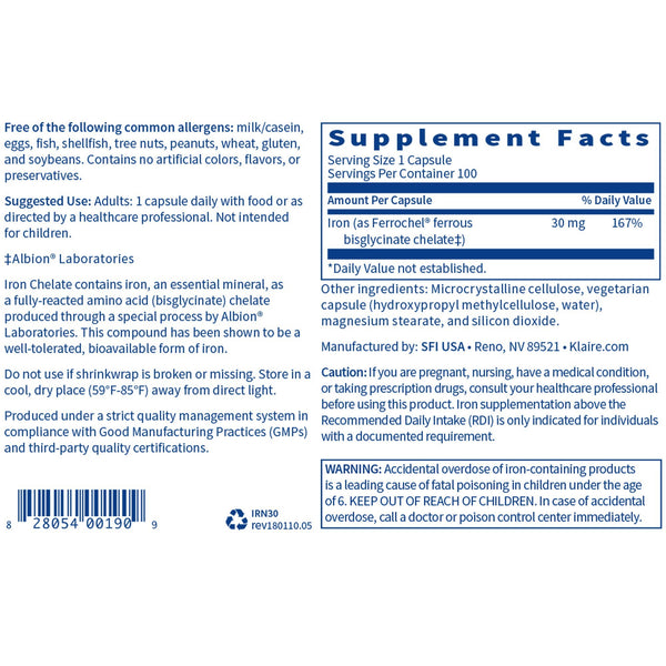 Iron Chelate 100 Count - Vitasell.net