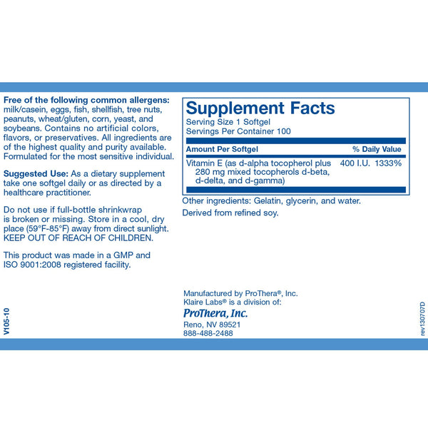 Pure E 400IU 100 Softgels - Vitasell.net