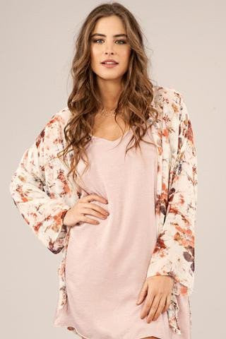 Our floral love kimono is a staple style for spring.