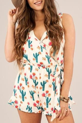 A printed romper is all you need to break into spring and summer.