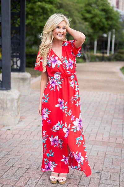 womens maxi dress, red floral maxi dress, floral maxi dress, red maxi dress, summer maxi dresses, beach maxi dresses, free shipping