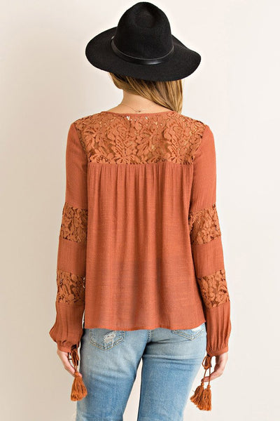 Layered in Lace Top- Rust - Free Shipping - C&S Clothing Co.