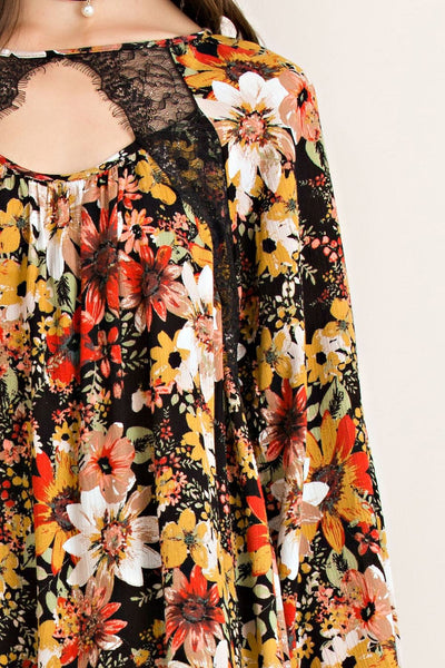 Lace on Over Floral Blouse - Free Shipping - C&S Clothing Co.