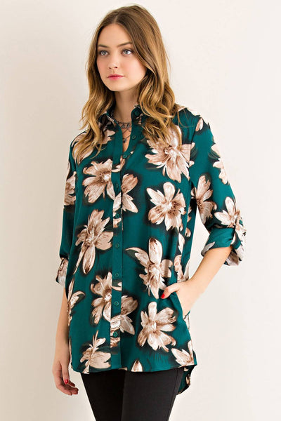floral button down, floral tunic, green button down, green tunic, green floral tunic, tunic shirt women, crepe chiffon blouse, green chiffon blouse, green crepe top, floral chiffon blouse, floral chiffon top, floral crepe top, free shipping, fast and free shipping
