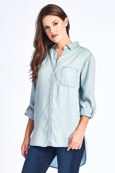Women's denim tunic, women's denim shirt, denim blue button down Tunic, c&s Clothing co, women's trendy fashion, c&s Clothing co, free shipping, fast and free shipping