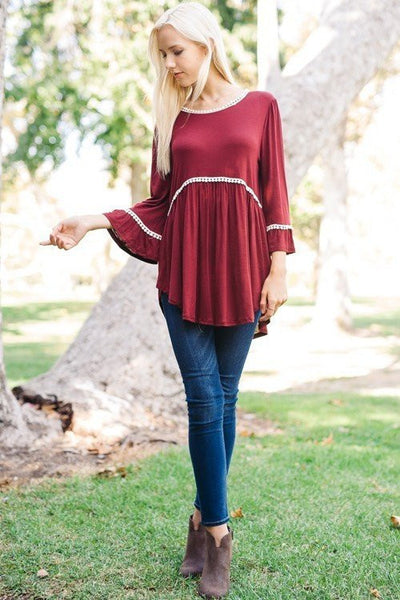 Endless Love Ruffle Sleeve Tunic - Free Shipping - C&S Clothing Co.