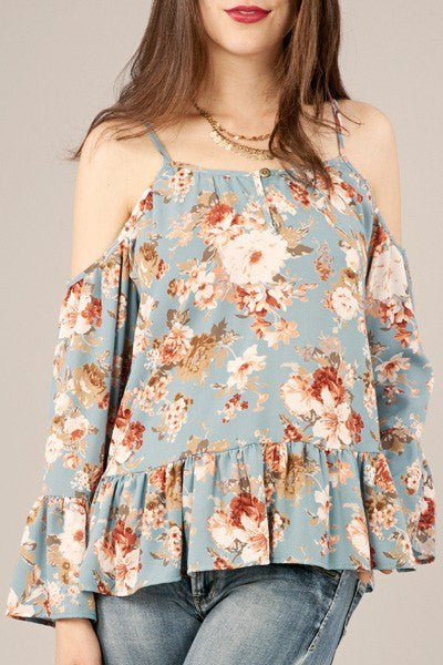 light floral off shoulder top, blue floral top, off shoulder floral, printed floral top, loose fit floral, floral off shoulder top, cold shoulder floral top, peach love tops, cs clothing co, c&s clothing co, fast and free shipping, free shipping
