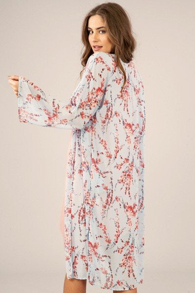 Cherry Blossom Kimono, peach love kimono, womens trendy fashion, womens affordable clothing, online boutique, csclothing co, c&s clothing co, fast and free shipping free shipping