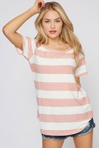 Candy Stripes Top- Mauve