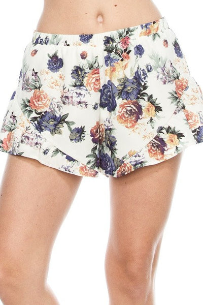 soft floral shorts, shorts, floral shorts, woman's floral shorts, loose fit shorts, loose fit floral shorts, free shipping
