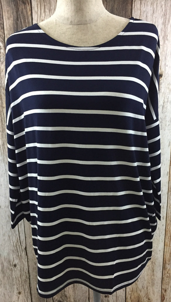 all striped up jersey top, cs clothing co, womens affordable trendy clothing, navy striped long sleeve, navy striped top, navy striped, womens navy striped top, fast and free shipping