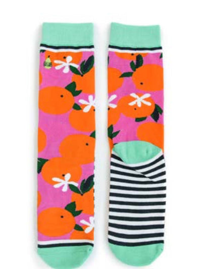 Orange You Glad Socks, gift ideas, birthday gifts, christmas gifts, graphic socks, fun socks, woman's socks, socks with oranges on them, comfy socks, cute socks for woman, free shipping