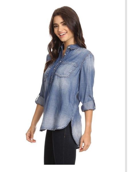 Fade to Love Chambray Popover - Free Shipping - C&S Clothing Co.