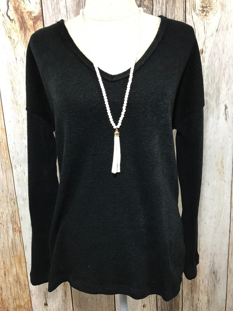 let them eat cake, let them eat cake cozy nights, Peace love cake sweater, peace love cake womens black sweater, cozy nights, womens black round neck sweater, womens lightweight sweater, womens trendy clothing, womens affordable fashion, cs clothing co, c&s clothing co, online boutique, womens trendy fashion, fast and free shipping, free shipping,
