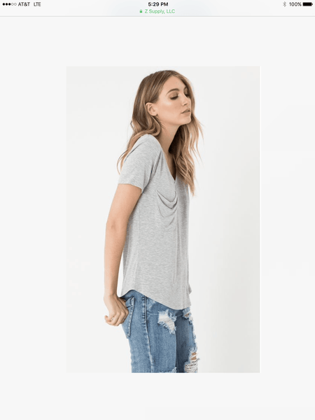 Z Supply Pocket Tee- Heather Grey - Free Shipping - C&S Clothing Co.