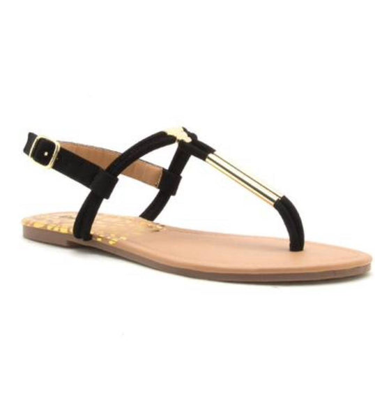Black Strap Sandals - T-Strap Thong Sandal - Flats -  Side View