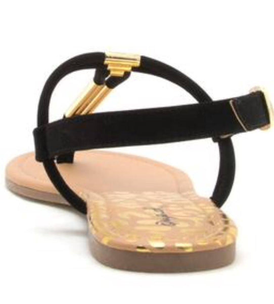 Black Strap Sandals - T-Strap Thong Sandal - Flats - Back View