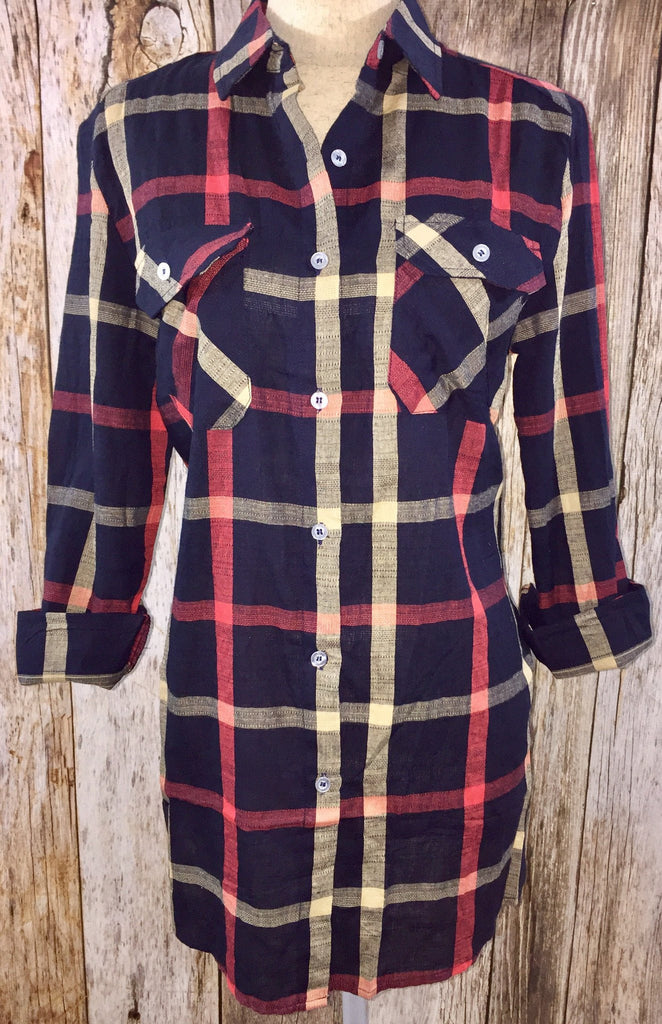 navy tunic, navy plaid tunic, tunic, plaid tunic, loose fit tunic, lightweight loose fit tunic, long sleeve tunic, free shipping