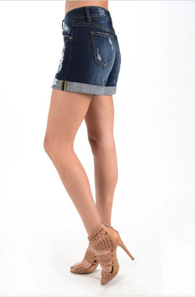 Summer Blues Cuffed Shorts, womens blue jeans shorts, womens cuffed jean shorts, womens affordable clothing, womens trendy fashion, womens distressed jeans, cs clothing co, fast and free shipping, free shipping, C&S Clothing Co.