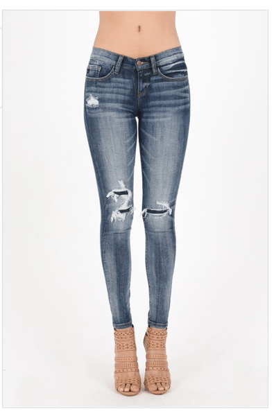 womens skinny jeans, distressed skinny jeans with patch, ripped womens jeans, distressed patch skinny jeans, womens jeans, cs clothing co, c&s clothing co, online boutique, womens affordable fashion, judy blue jeans, fast and free shipping, free shipping
