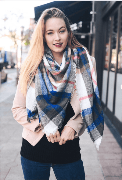 Classic Plaid Blanket Scarf- White/Blue/Pink