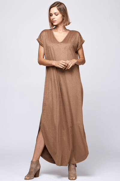 suede me maxi dress, suede maxi dress, peach love suede maxi, brown suede maxi dress, fall maxi dresses, women's trendy clothing, women's affordable clothing, c&s clothing co, cs clothing co, online boutique, fast and free shipping, free shipping