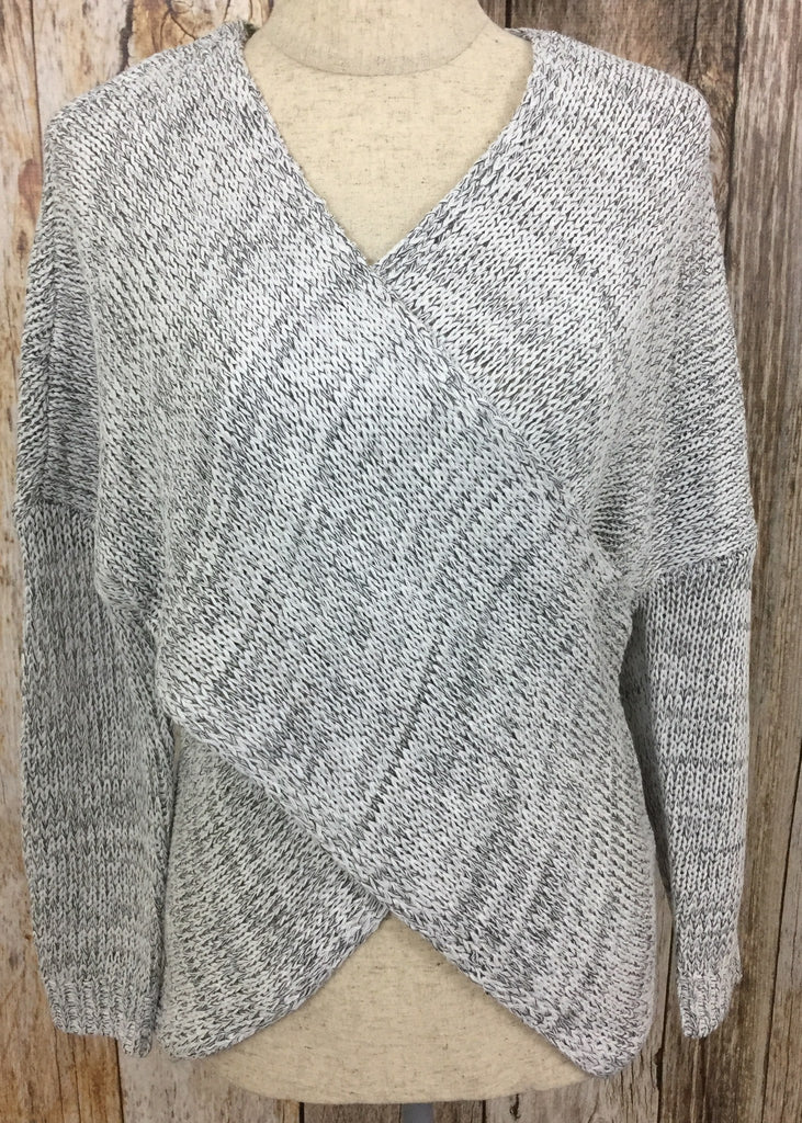 gray criss cross sweater, gray sweater, long sleeve criss cross sweater, fitted sweater, womans sweaters, free shipping