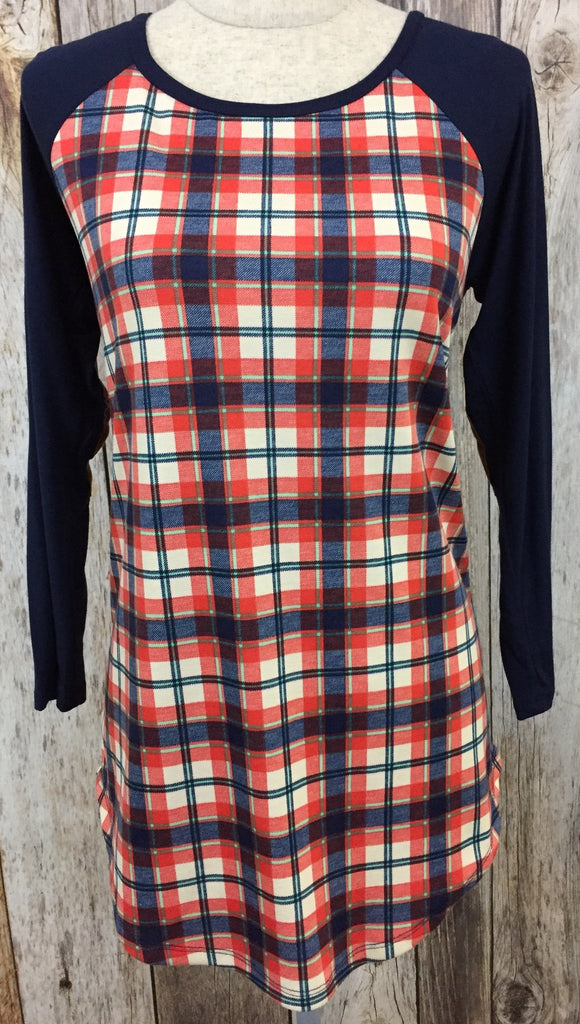 plaid tunic, plaid long sleeve, plaid top, womens long sleeve with patch work, fast and free shipping