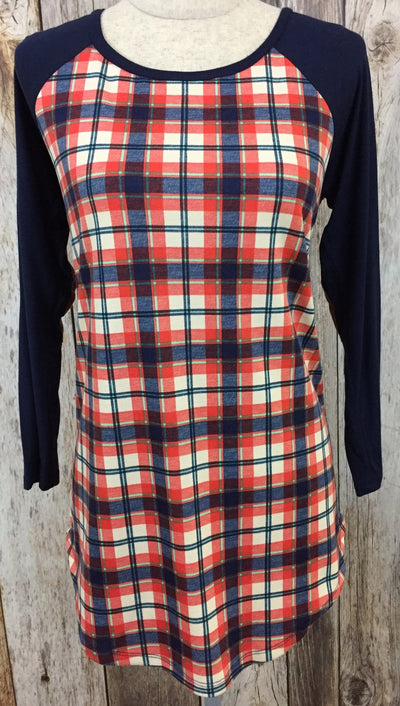 plaid tunic, plaid long sleeve, plaid top, womens long sleeve with patch work, free shipping