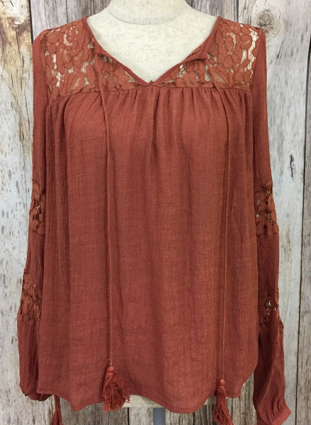 rust tassel tie top, tassel ties and lace top, rust top, lace top, lightweight top, womens tassel tie tops, free shipping