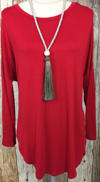 red long sleeve top, red long sleeve tee, red tops, red tees, long sleeve loose fit tops, long sleeve loose fit tees, free shipping