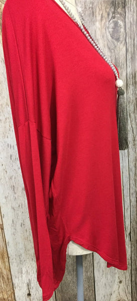 Southern Cross Top Red, womens long sleeve tee, womens red long sleeve top, womens trendy fashion, womens affordable clothing, cs clothing co, c&s clothing co, online boutique, free shipping, fast and free shipping