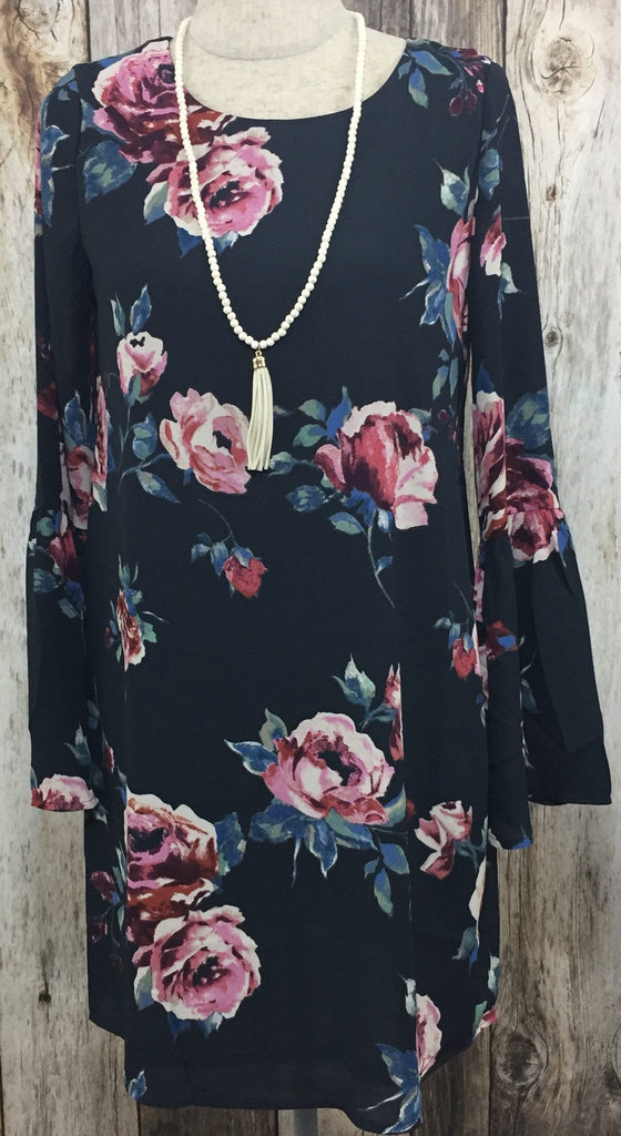 floral dress, short floral dress, casual floral dress, casual printed dress, short printed dress, bell sleeves dress, charcoal short dress, charcoal floral dress, floral dress, womens floral dresses, womens floral dress, dark floral dresses, free shipping
