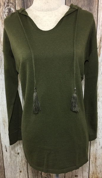 green hooded sweater, olive hooded sweater with tassels, lightweight sweaters, hooded sweaters, olive sweaters, olive lightweight sweaters, green long sleeve tops, free shipping