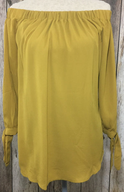 mustard off the shoulder, cold shoulder top, off the shoulder top, mustard tops, dark gold tops, gold tops, loose fit tops, free shipping