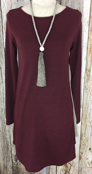 wine long sleeve dress, lightweight long sleeve dress, wine dress, womens dresses, free shipping