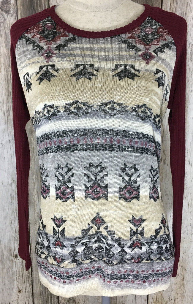 a touch of aztec top, aztec print top, tribal print top, womens long sleeve, fast and free shipping