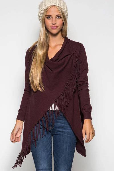 wine fringe wrap, wine fringe cardigian, womens fringe wrap sweater, wine sweater, cardigan, sweater, womens fringe cardigan, free shipping