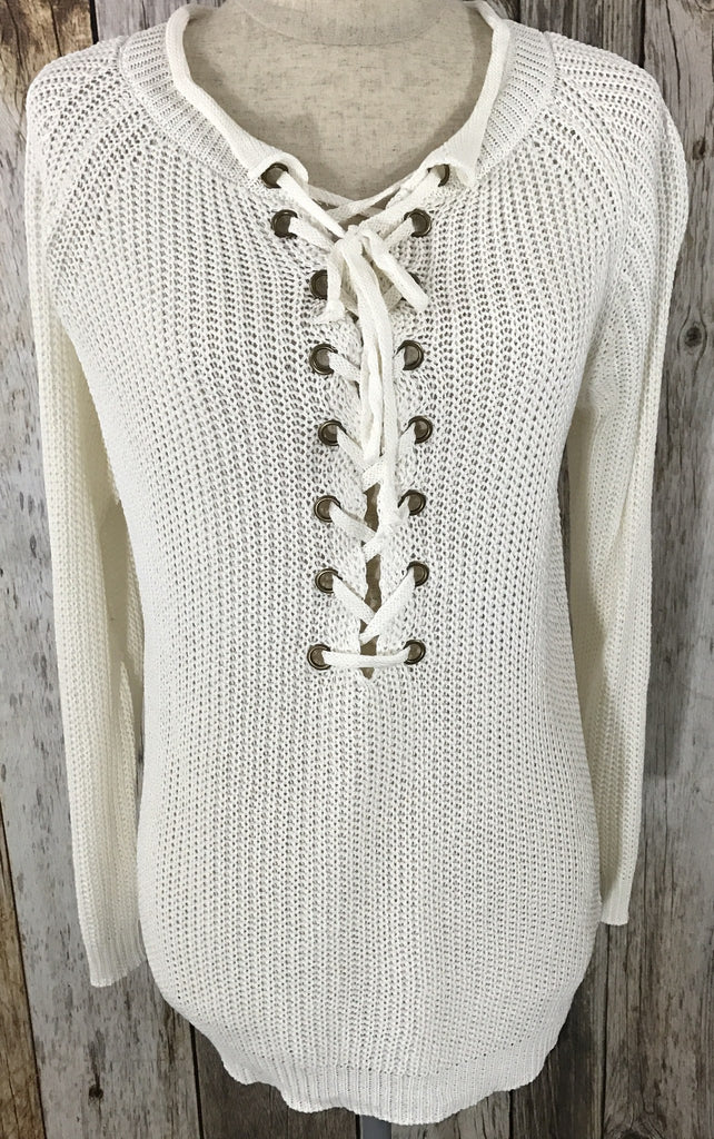 ivory lace up sweater, lightweight laced up top, ivory tie sweater, sweater with grommets, womens lace up sweater, free shipping