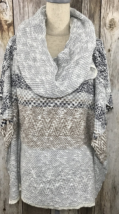 womens poncho, poncho, ponchos, gray poncho, nuetral colored poncho, sweaters, womens sweaters, free shipping
