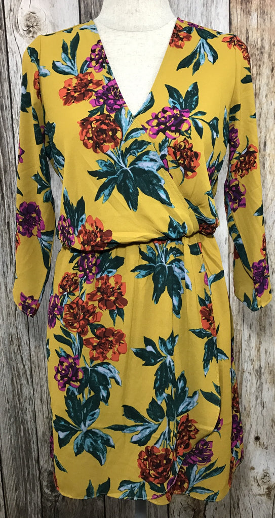 mustard colored floral dress, mustard floral dress, floral dress, long sleeve mustard floral print dress, floral print dress, womens floral dresses, free shipping