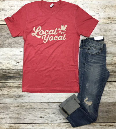 local yocal tee, heather red graphic tee, red graphic tee, graphic tees, red unisex tee, unisex tee, womans graphic tees, free shipping