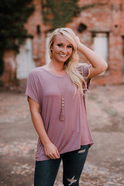 let them eat cake beaux boyfriend tee, let them eat cake, beaux tee, mauve tee, Peace love cake tees, peace love cake, womens mauve tops, womens trendy fashion, womens affordable fashion, cs clothing co, c&s clothing co, online boutique, fast and free shipping, free shipping